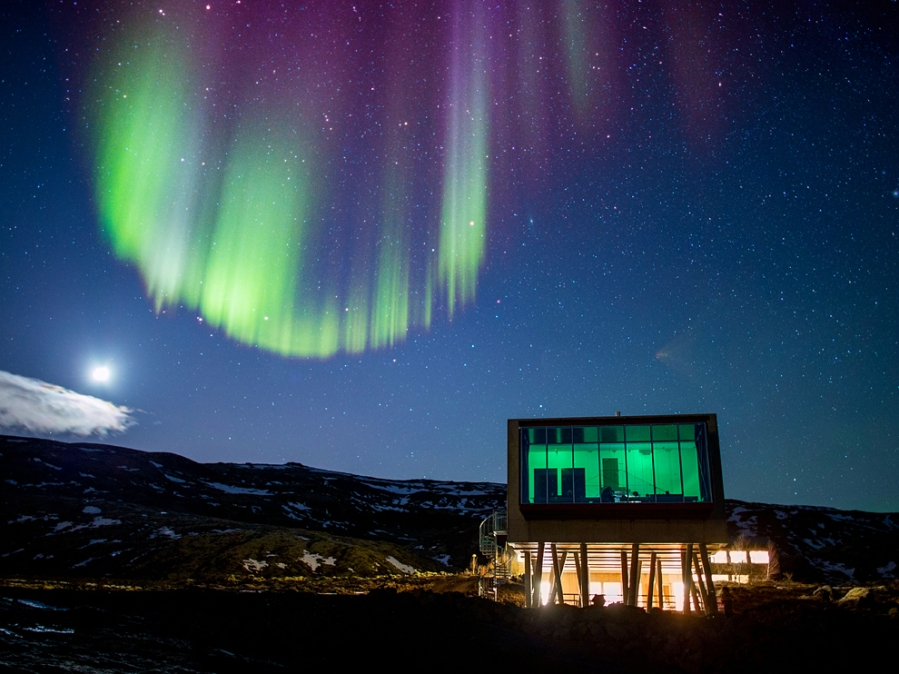 Aurora borealis over Hotel ION located by Nesjavellir Power Plant, Iceland. Image shot 2013. Exact date unknown.